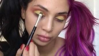 Maquiagem Com Esfumado Marrom E Sombra Amarela Matte, Olha Só Que Arraso!