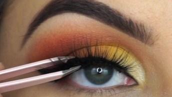 Maquiagem Com Esfumado Marrom E Sombra Amarela, Uma Linda Combinação!