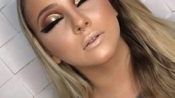 Maquiagem Com Esfumado Marrom E Sombra Dourada Para Formatura!