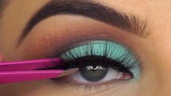 Maquiagem Com Esfumado Marrom E Sombra Verde Água E Delineado!