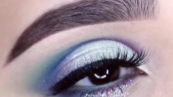 Maquiagem Com Esfumado Roxo E Azul, E Sombra Furta Cor Na Pálpebra Móvel!