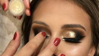 Maquiagem Com Glitter Dourado E Esfumado Preto, Confira!