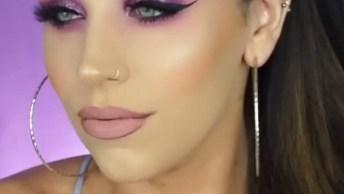 Maquiagem Com Linda Paleta Com Tons De Lilás E Rosa, Olha Só Que Perfeito!
