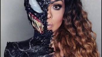 Maquiagem Com Máscara Para Halloween, Só Metade Do Rosto Já Assusta!