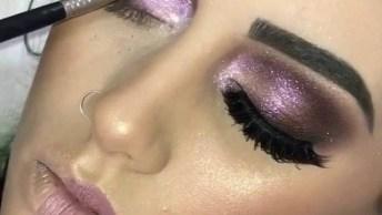 Maquiagem Com Olhos Com Brilho E Batom Rosa Claro, Muito Linda!