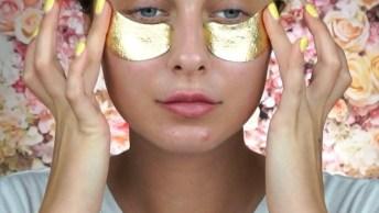 Maquiagem Com Olhos Dourados E Boca Vermelha, Uma Linda Combinação!