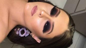 Maquiagem Com Olhos Escurecidos E Boca Marrom Clara, Confira!