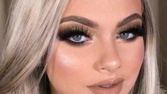 Maquiagem Com Olhos Esfumados E Com Cílios Enorme, Muito Legal!