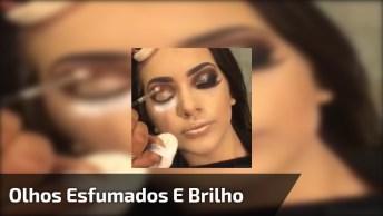 Maquiagem Com Olhos Esfumados E Muito Brilho, Confira O Resultado!