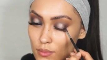 Maquiagem Com Olhos Esfumados Na Parte Exterior E Interior Da Pálpebra!