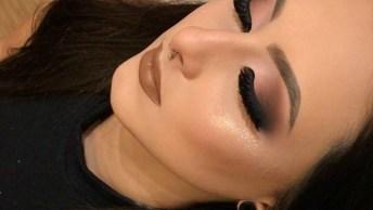 Maquiagem Com Olhos Marcantes E Boca Marrom Claro, Que Lindo!