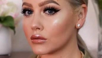 Maquiagem Com Pele Contornada E Sombra Cintilante Linda, Confira!