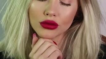 Maquiagem Com Preparação De Pele E Batom Vermelho, Simplesmente Perfeita!