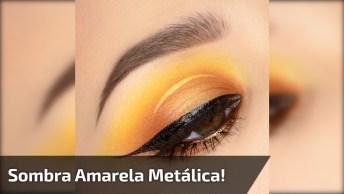 Maquiagem Com Sombra Amarela Metálica, E Puxadinho Preto Lindo!
