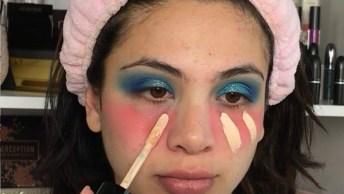 Maquiagem Com Sombra Azul Cintilante, E Preparação De Pele!