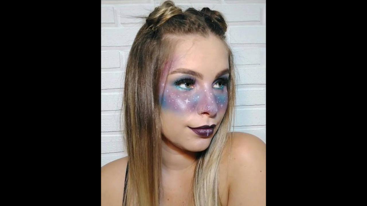 Maquiagem com sombra azul e lilás estilo mascara para festa a fantasia