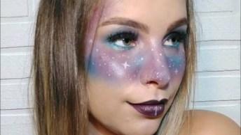 Maquiagem Com Sombra Azul E Lilás Estilo Mascara Para Festa A Fantasia!