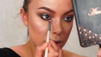 Maquiagem Com Sombra Cinza, Esfumado Marrom, E Puxadinho Na Cor Preta!