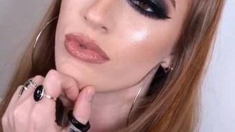 Maquiagem Com Sombra Cinza Prateada, Um Olhar Super Marcante!