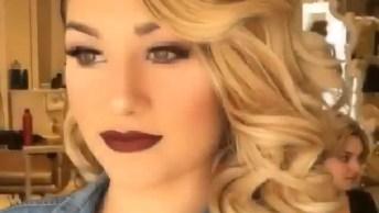 Maquiagem Com Sombra Clara E Batom Vermelho Escuro, Simplesmente Perfeita!