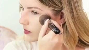Maquiagem Com Sombra E Batom Marrom, Ficou Linda E Delicada!