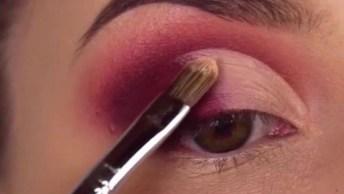 Maquiagem Com Sombra Em Degradê Na Cor Vermelha Metálica, Simplesmente Linda!