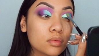Maquiagem Com Sombra Lilás E Azul, Com Esfumado Preto, Veja Que Lindo!