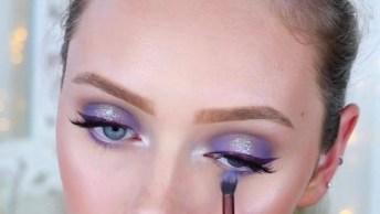 Maquiagem Com Sombra Lilás Lilás Com Brilho, Mais Uma Linda Opção!