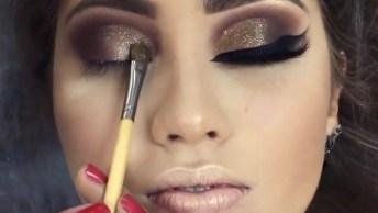 Maquiagem Com Sombra Marrom E Pigmento Dourado, E Batom Nude!