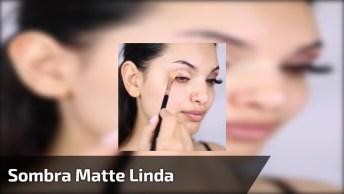 Maquiagem Com Sombra Mate, Delineado, E Batom De Cor Nude!