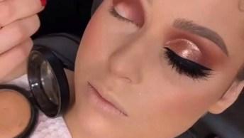 Maquiagem Com Sombra Metálica Maravilhosa Na Cor Cobre, E Delineado!