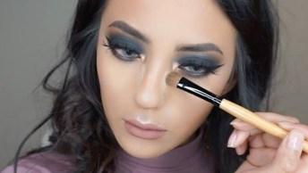 Maquiagem Com Sombra Preta E Esfumado Marrom, Olhos Marcantes Maravilhosos!