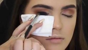 Maquiagem Com Sombra Preta Esfumada E Batom De Cor Nude, Uma Make Perfeita!
