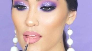 Maquiagem Com Sombra Rosa E Lilás E Batom Cor De Boca Lindo!
