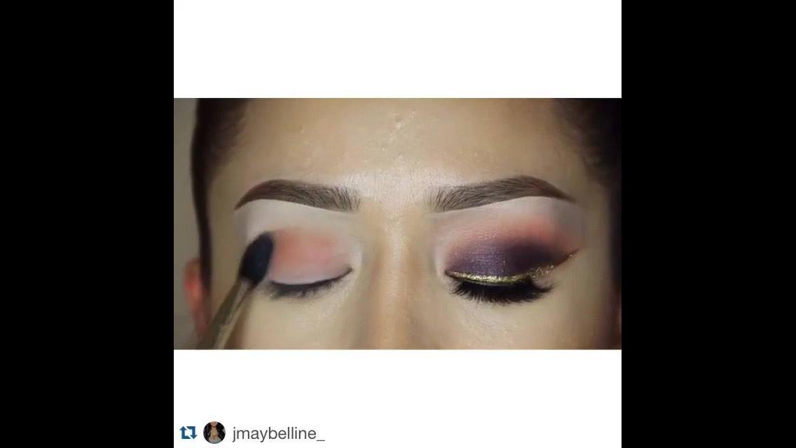Maquiagem com sombra roxa e delineado dourado