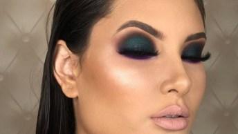 Maquiagem Com Sombra Verde E Roxa, Uma Ideia Super Diferente E Arrasadora!