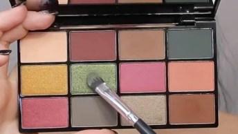 Maquiagem Com Sombra Verde Escura E Com Pigmento, O Resultado É Lindo!