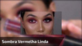 Maquiagem Com Sombra Vermelha Com Ponto De Luz, E Batom De Cor Nude Rosado!
