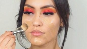 Maquiagem Com Sombra Vermelha E Batom Vermelho, Quem Disse Que Não Combina?