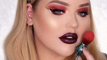 Maquiagem Com Sombra Vermelha E Delineado Artístico, Sensacional!