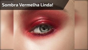 Maquiagem Com Sombra Vermelha E Dourada, Olha Só Que Linda Combinação!