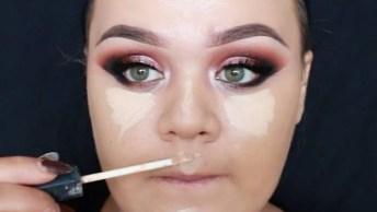 Maquiagem Com Sombra Vermelha E Esfumado Preto, Olha Só Que Perfeição!