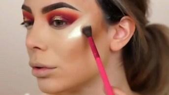 Maquiagem Com Sombra Vermelha, Fica Muito Legal, Vale A Pena Conferir!