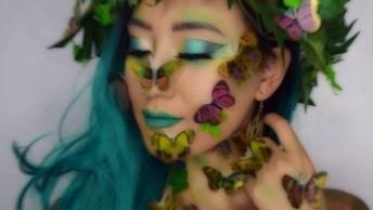Maquiagem Com Tema Natureza, Fica Muito Linda O Resultado Final!