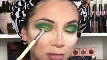Maquiagem Completa Com Contorno, E Sombra Verde Com Amarelo!