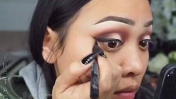 Maquiagem Completa Com Esfumado Marrom E Sombra Clara Nas Pálpebras Móveis!