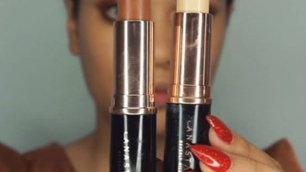 Maquiagem Completa Com Preparação De Pele, Batom Vermelho E Sombra Cobre!