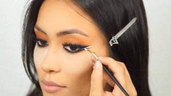 Maquiagem Completa Com Preparação De Pele E Olhos Com Tom Marrom E Delineado!