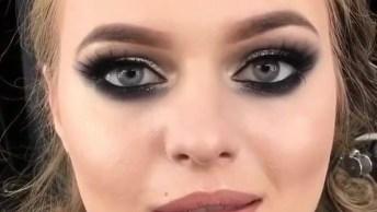 Maquiagem Completa Com Sombra Grafite E Prata, Olha Só Que Linda!