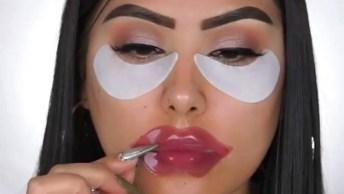 Maquiagem Completa Com Sombra, Preparação De Pele Com Contorno E Batom Escuro!